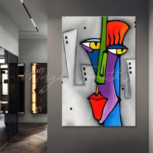 Abstract Face Pop Art Oil Painting on Canvas