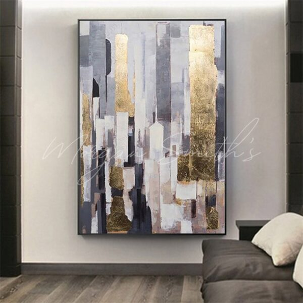 Abstract Gold Highlight City Landscape Oil Painting on Canvas