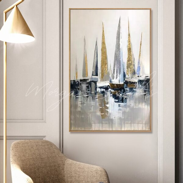 Abstract Sailing Boat Marina Oil Painting on Canvas