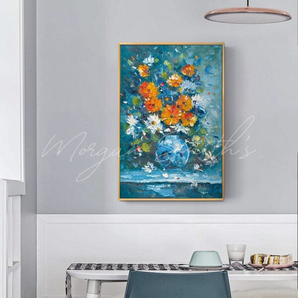 Flowers In A Blue Vase Oil Painting on Canvas