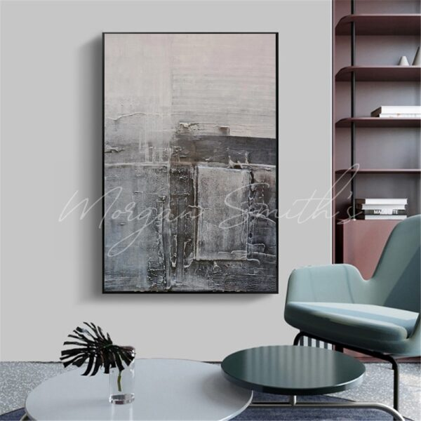 Large Modern Abstract Greys Oil Painting on Canvas