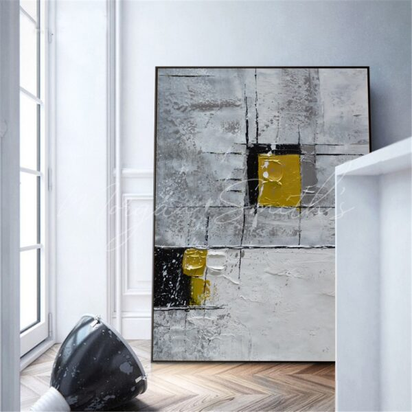 Large Abstract Gold & Grey Oil Painting on Canvas
