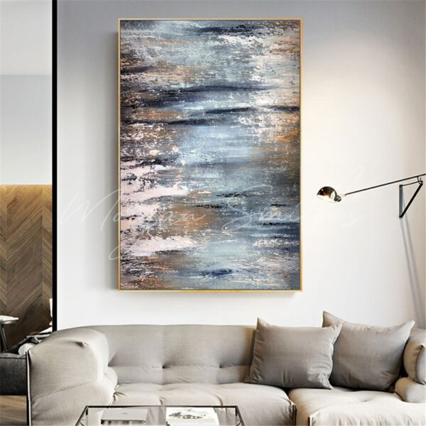 Modern Abstract Rustic Oil Painting on Canvas