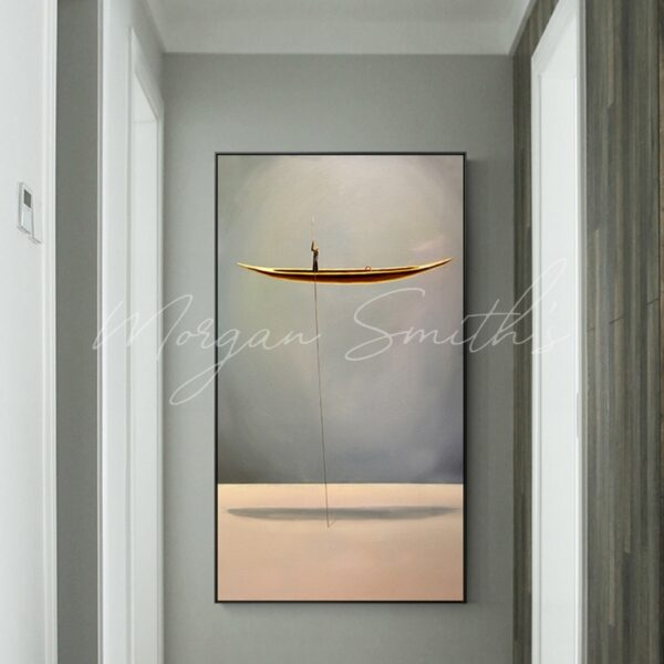 Modern Abstract River Boat Oil Painting on Canvas