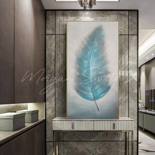 Large Abstract Blue Feather Oil Painting on Canvas