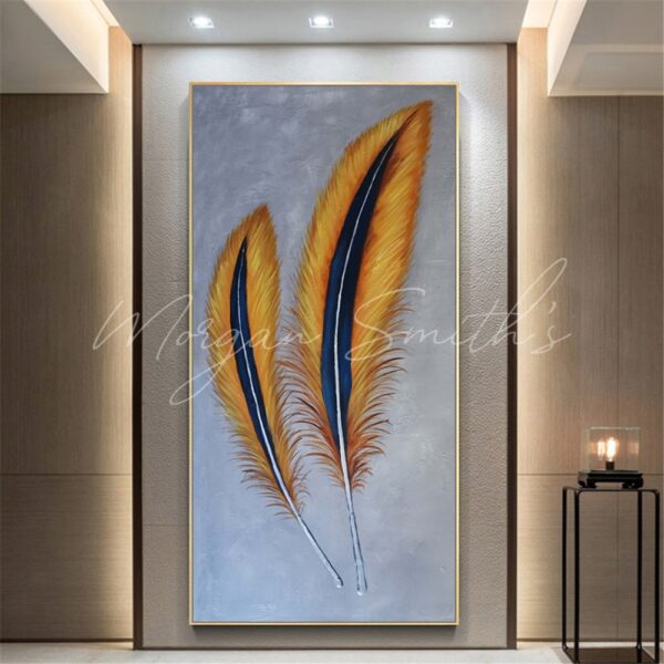 Large Abstract Feather Oil Painting on Canvas