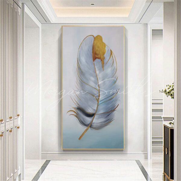 Large Abstract Feather Oil Paintings on Canvas