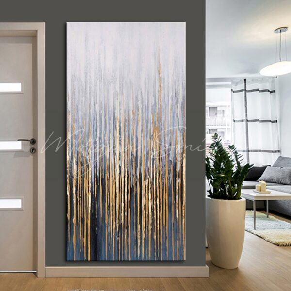 Large Abstract Decorative Golden Oil Painting on Canvas