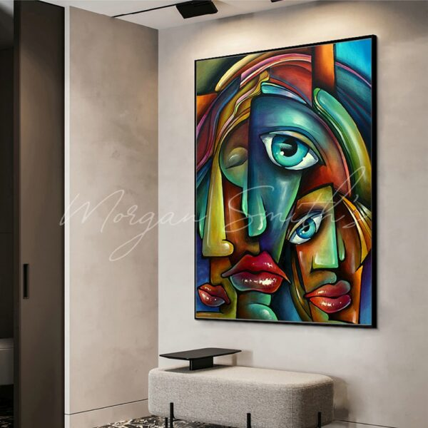 Large Abstract Faces Portrait Oil Painting on Canvas