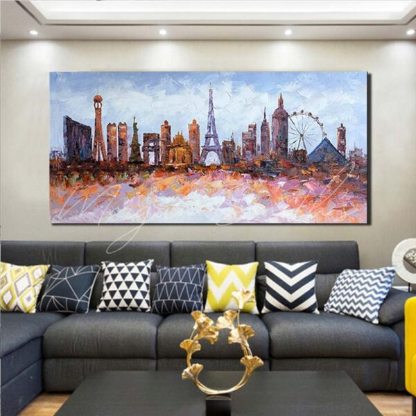 Abstract Modern City Landmarks Oil Painting on Canvas
