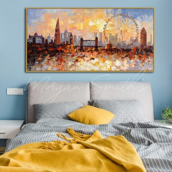 Abstract Modern City London Landscape Oil Painting on Canvas