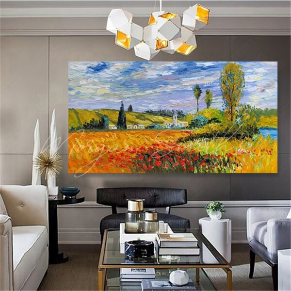 Country Floral Landscape Oil Painting on Canvas