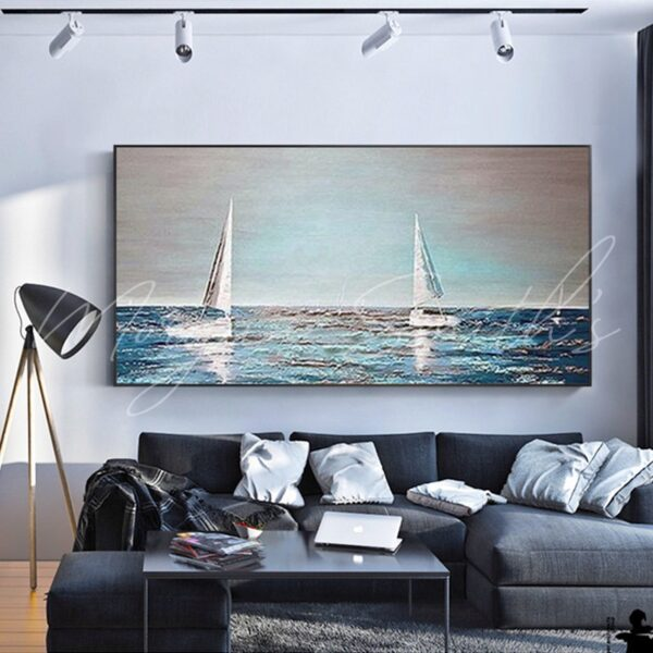 Sailing Boat Sea View Oil Painting on Canvas
