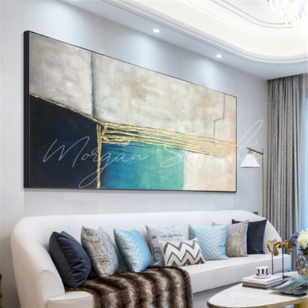 Modern Abstract Gold Highlight Oil Painting on Canvas