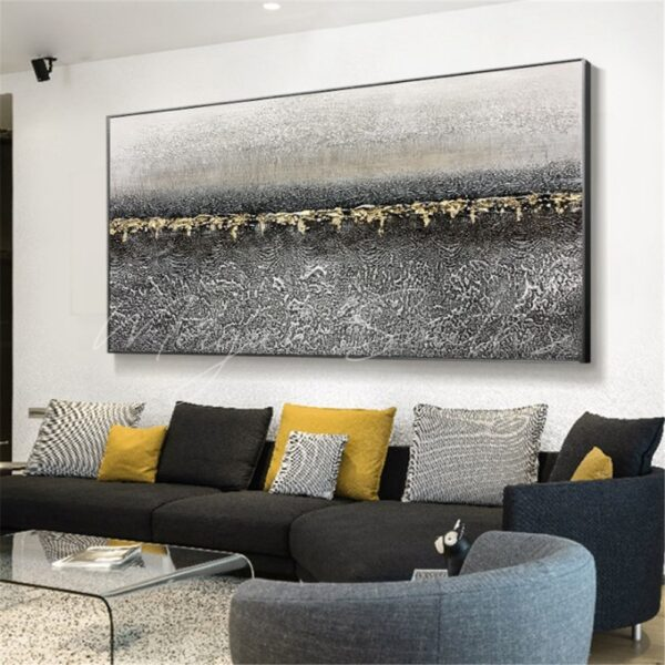 Modern Gold Abstract Oil Painting on Canvas