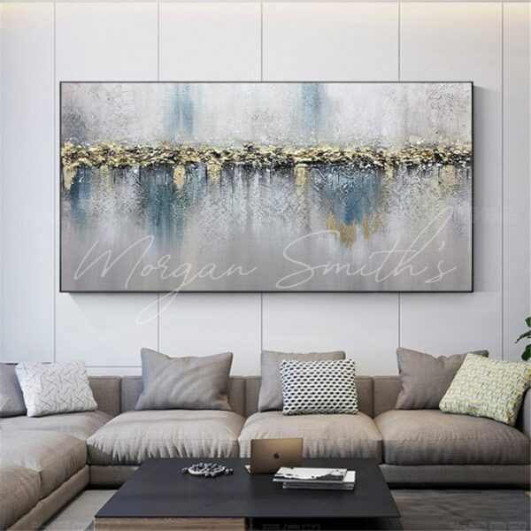 Large Modern Abstract Gold Oil Painting on Canvas