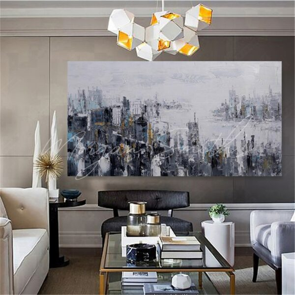 Abstract City Landscape Oil Painting on Canvas