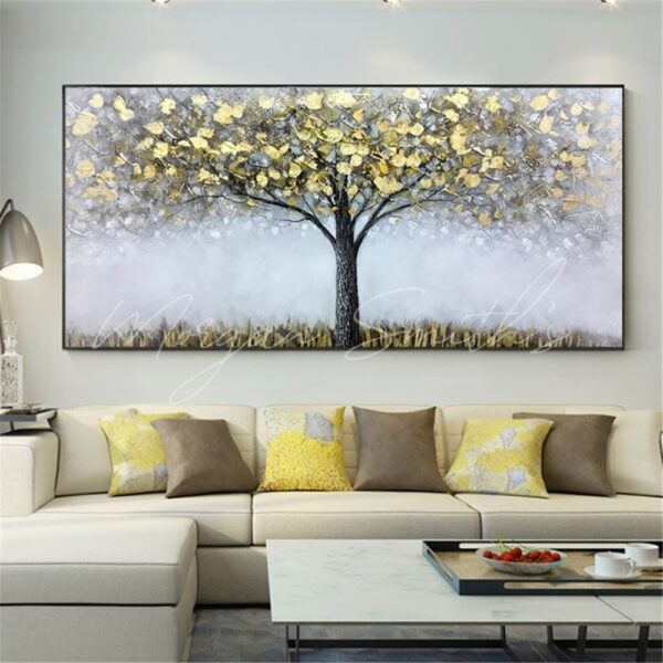 Abstract Gold Leaf Tree Landscape Oil Painting on Canvas
