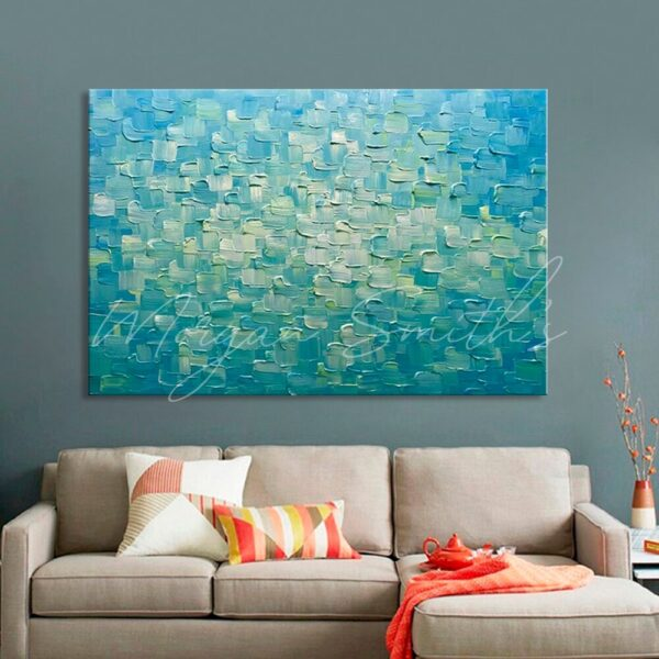 Abstract Blue Green 3D Palette Knife Oil Painting on Canvas