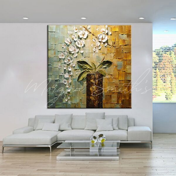Modern Abstract White Orchids 3D Palette Knife Oil Painting