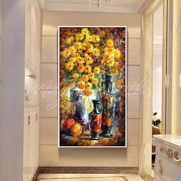 Modern Abstract Flower Oil Painting on Canvas