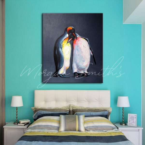 Two Penguins Together Oil Painting on Canvas