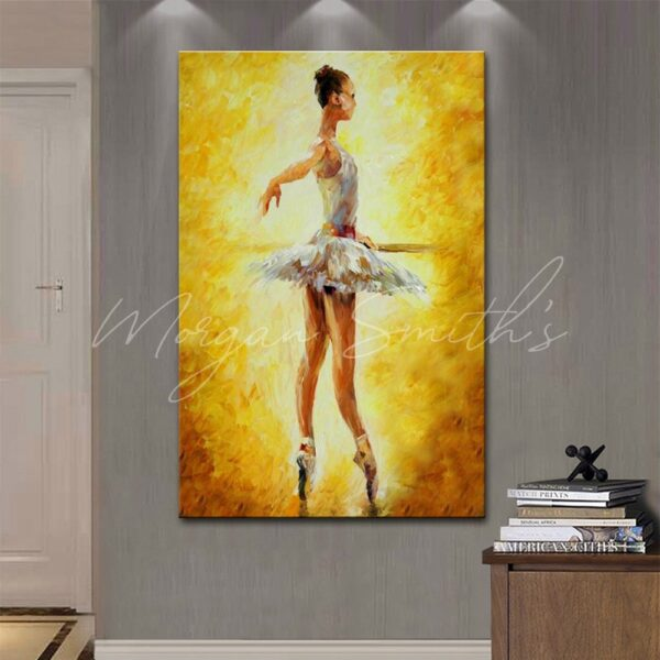 Abstract White Dress Ballet Dancer Oil Painting on Canvas
