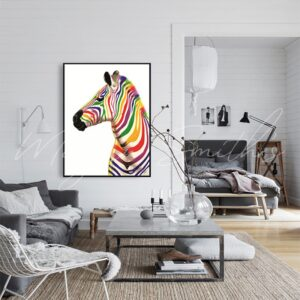 Abstract Colourful Zebra Oil Painting on Canvas
