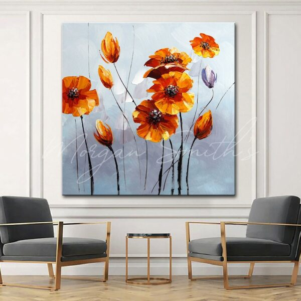 Modern Orange Yellow Flowers Oil Painting on Canvas