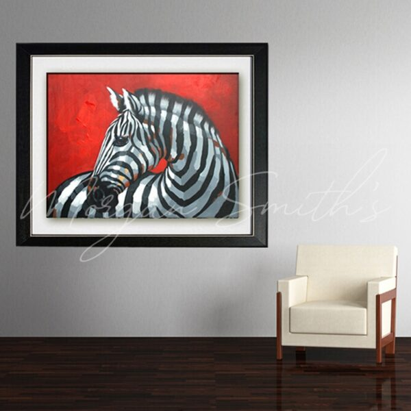 Abstract Pop Art Red Background Zebra Oil Painting on Canvas
