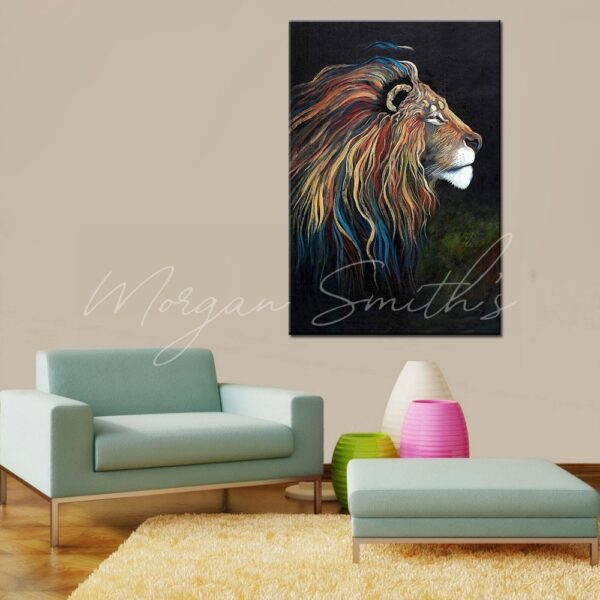 Abstract Pop Art Multi-Coloured Lion Head Oil Painting on Canvas
