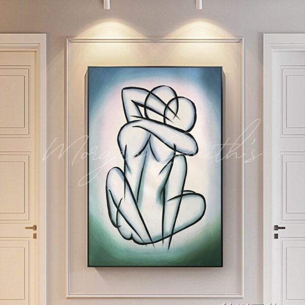 Abstract Lovers Couple Figure Oil Painting on Canvas