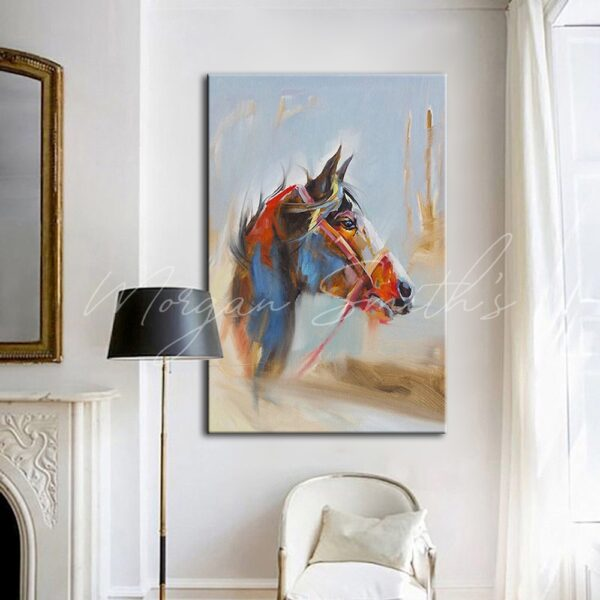 Modern Abstract Horse Head Oil Painting on Canvas