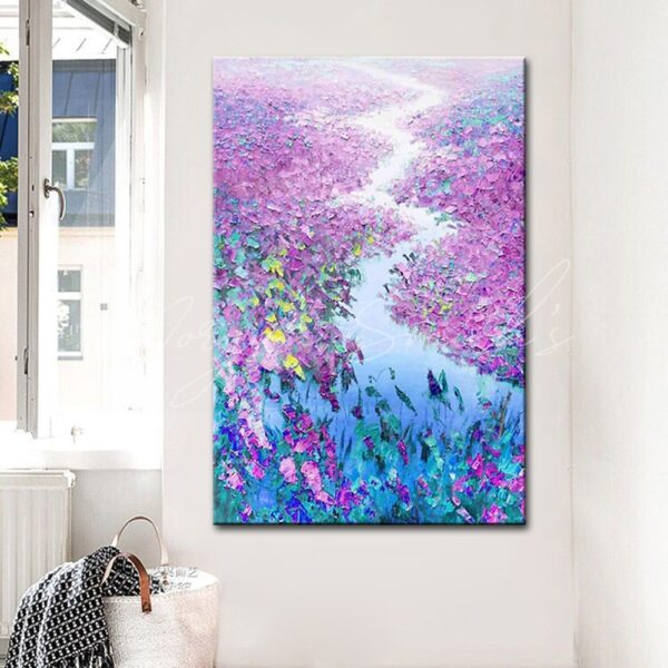 Landscape Scenery of Red Lotus Plants Oil Painting on Canvas