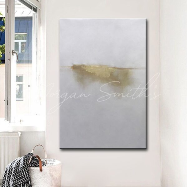 Abstract Gold and White Oil Painting on Canvas