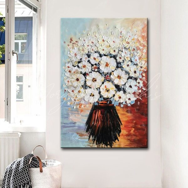 Abstract Palette Knife Textured Flowers Oil Painting on Canvas