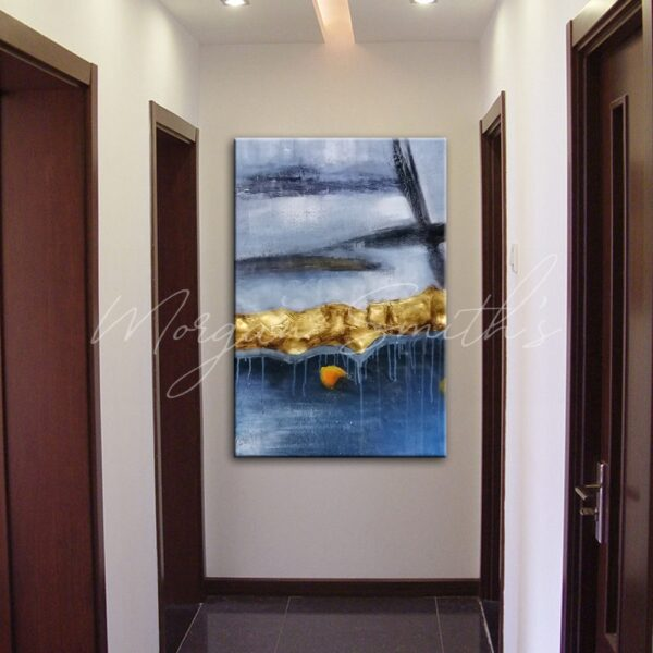 Large Golden Modern Abstract Oil Painting on Canvas