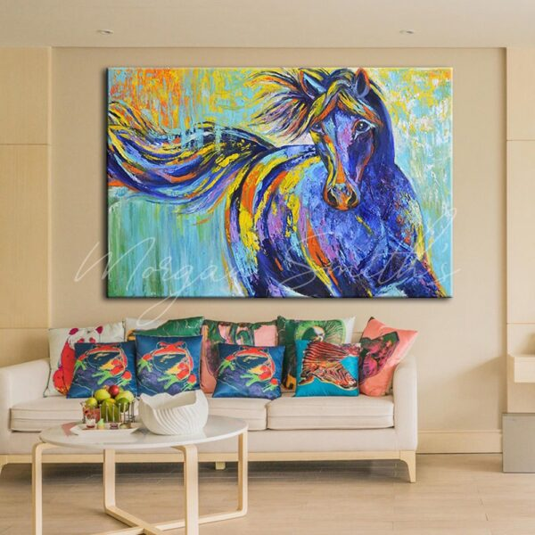 Bright Abstract Horse Oil Painting on Canvas