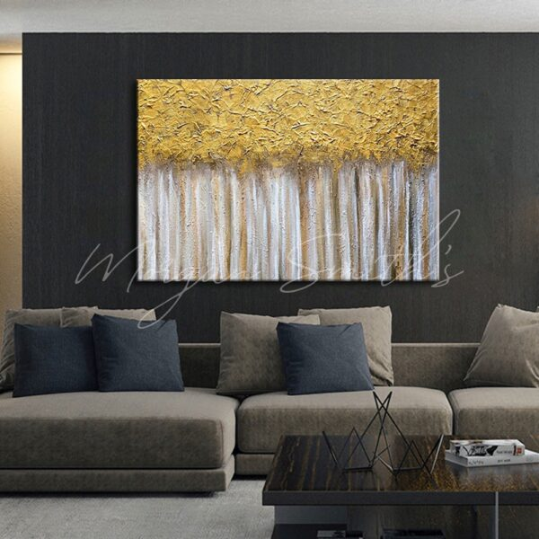 Abstract Golden Trees Oil Painting on Canvas