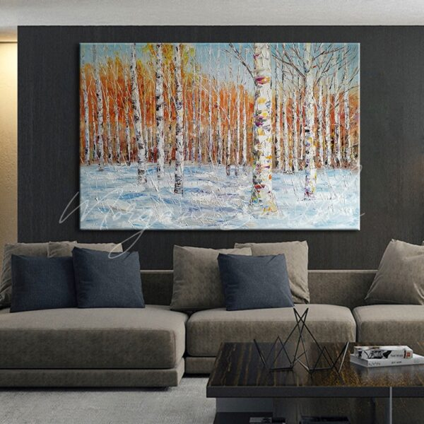 Large Snow & Trees Landscape Oil Painting on Canvas