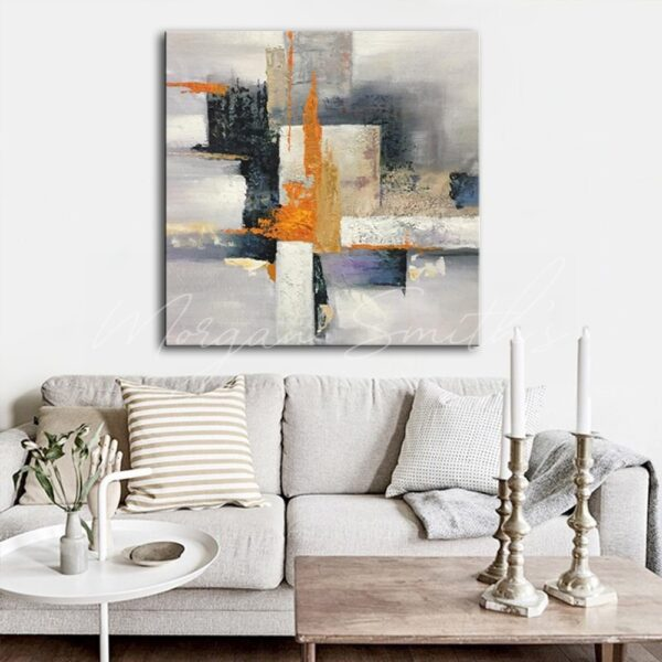 Abstract Decorative Colour Block Oil Painting on Canvas