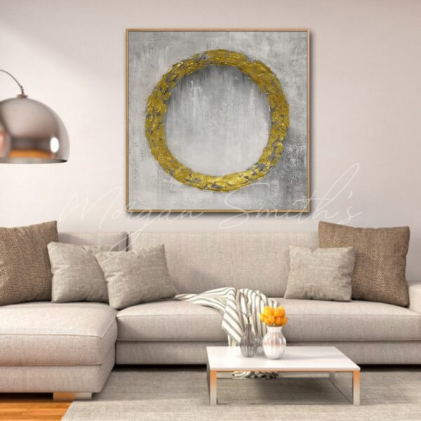Abstract Golden Wreath Oil Painting on Canvas