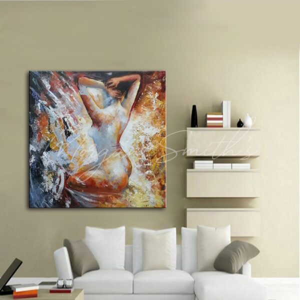 Modern Female Nude Portrait Oil Painting on Canvas