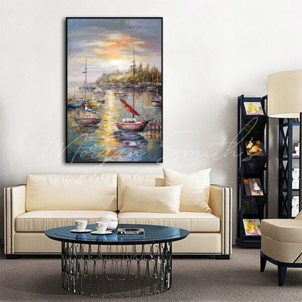 Boats At A Fishing Port Oil Painting on Canvas