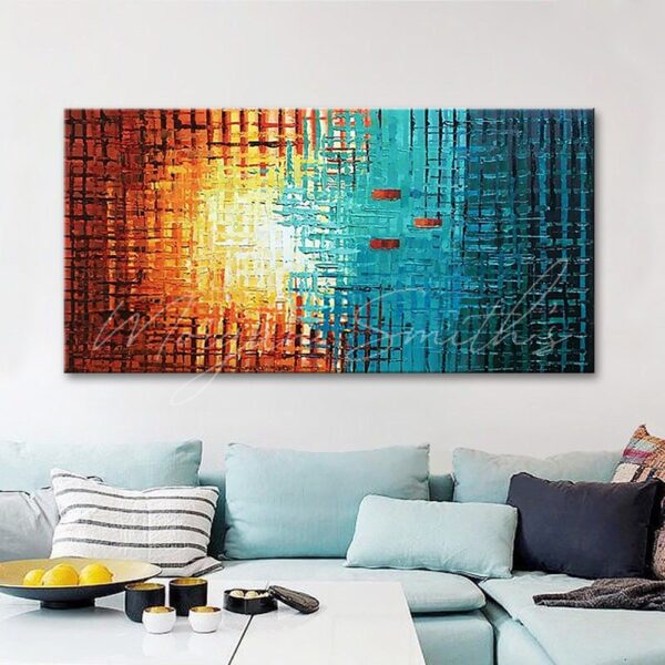Abstract Sunrise Grid Lines Oil Painting on Canvas