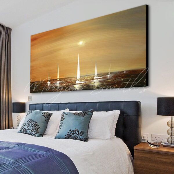 Sailing Boats in Sunset Seascape Oil Painting on Canvas