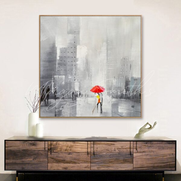 Abstract Lovers In The Rain Oil Painting on Canvas