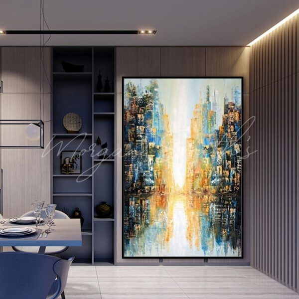 Modern Abstract City Reflections Landscape Oil Painting on Canvas