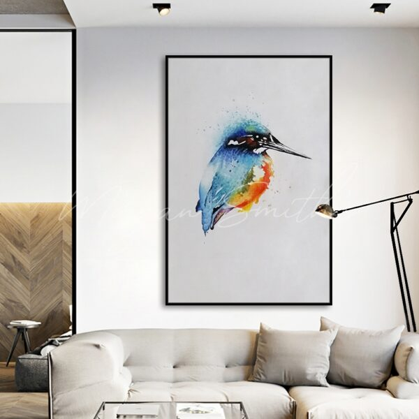Abstract Kingfisher Bird Oil Painting on Canvas