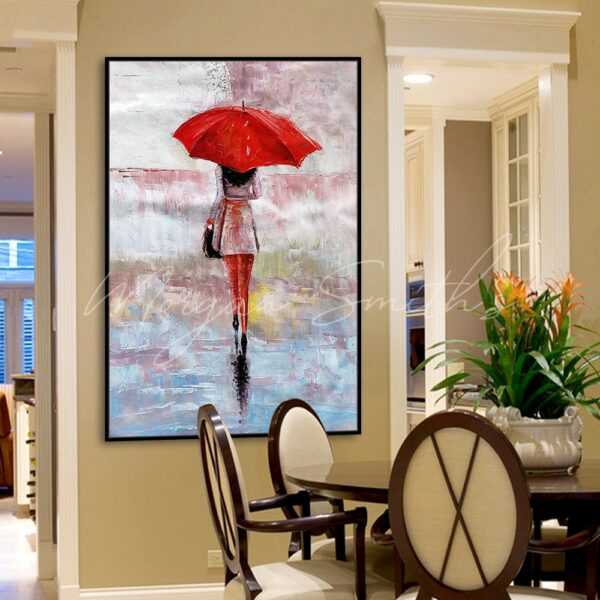 Lady Holding Red Umbrella Oil Painting on Canvas